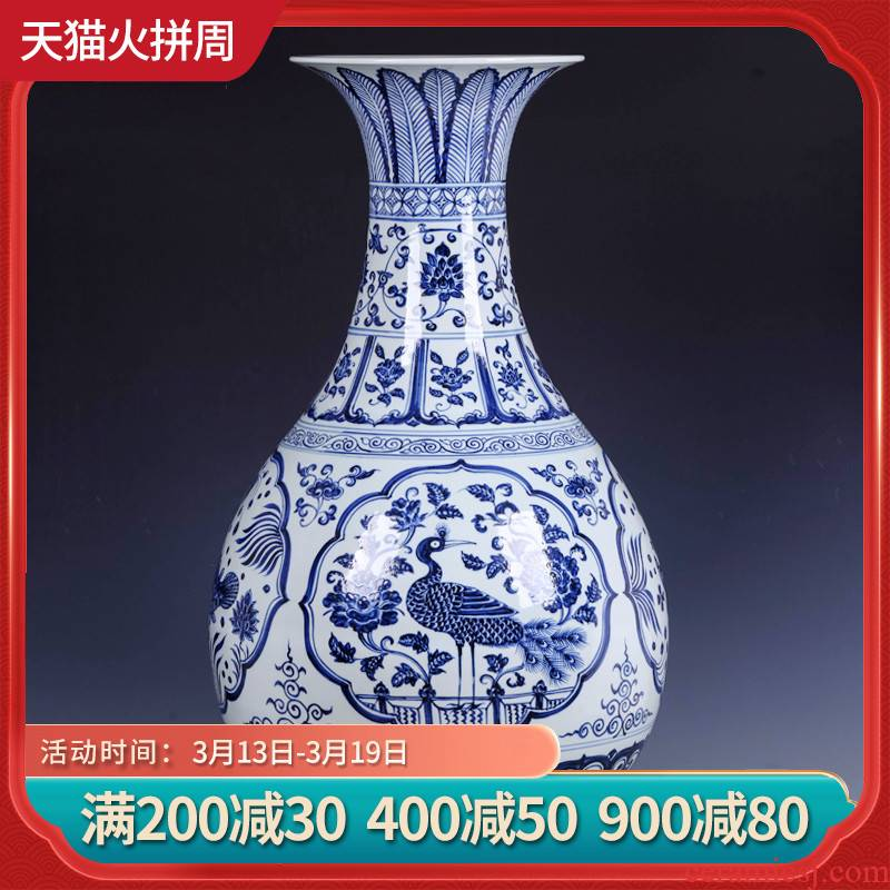Jingdezhen ceramics imitation Ming xuande okho spring floor vase large Chinese blue and white porcelain painting of flowers and birds in the sitting room furnishing articles