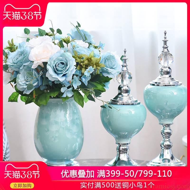 European ceramic vase furnishing articles American living room TV ark, wine home porch soft adornment in the vase
