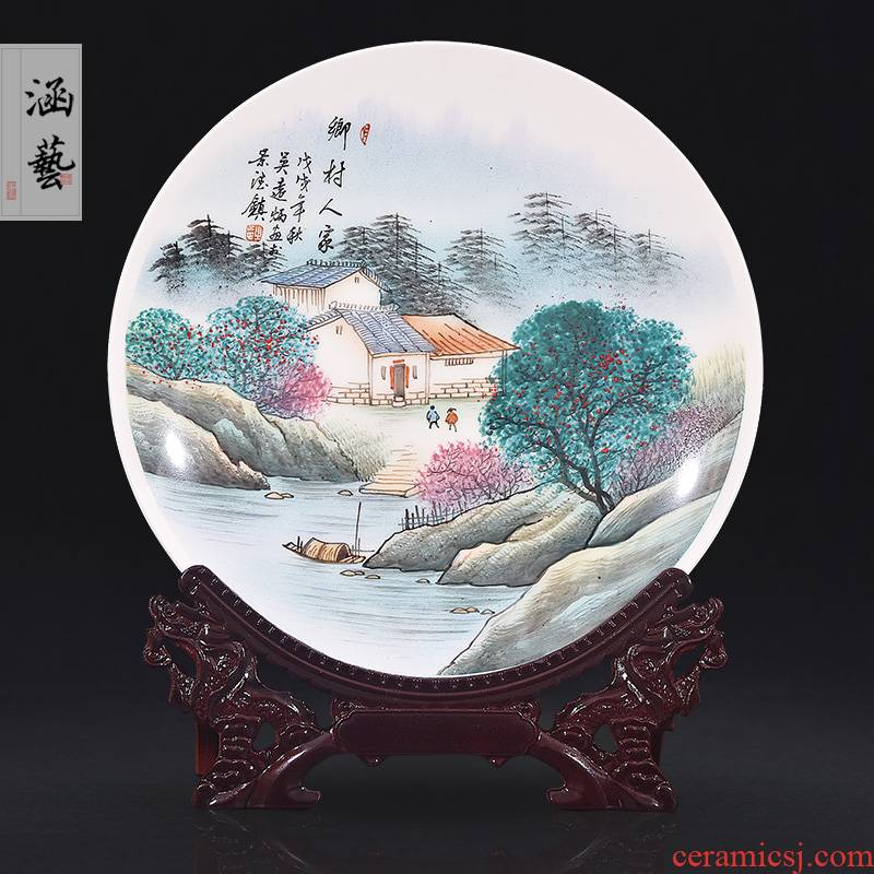 Jingdezhen ceramic hand - made village family decorate dish by dish hang dish of new Chinese style living room porch handicraft furnishing articles
