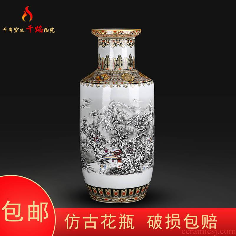 Jingdezhen ceramics large vases, flower arranging Chinese style living room home furnishing articles and TV ark, snow figure firecrackers bottles