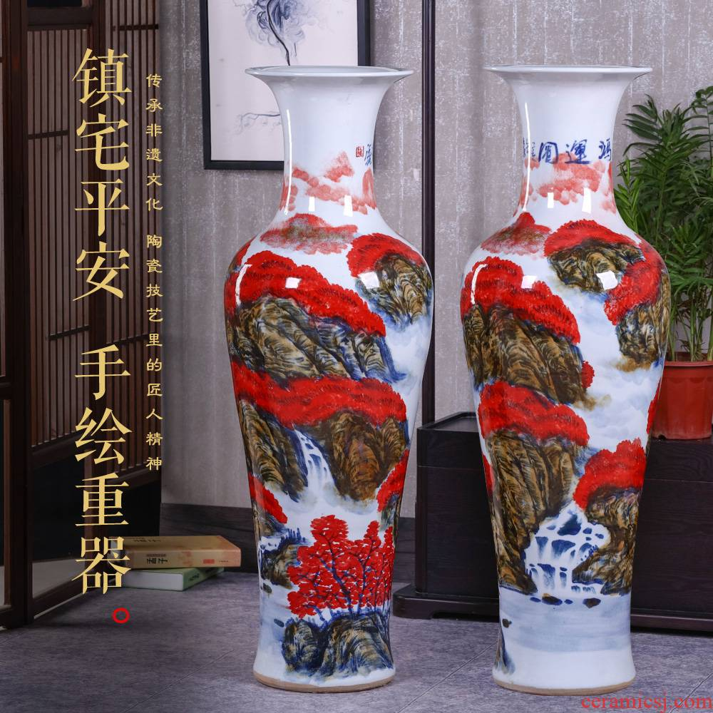 Jingdezhen ceramics hand - made ground vase furnishing articles large new Chinese style household living room TV cabinet decoration