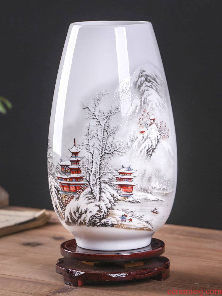Jingdezhen ceramics floret bottle furnishing articles sitting room flower arrangement of modern Chinese wine rich ancient frame TV ark, adornment