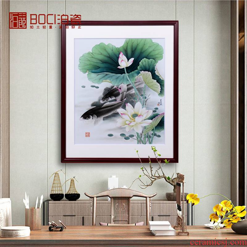 Hand - made of lotus in jingdezhen ceramics have a background fish porcelain plate painting the sitting room adornment picture hanging painter in furnishing articles