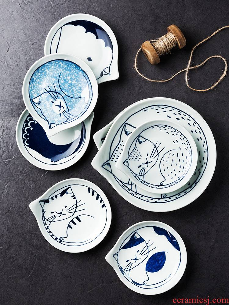 Porcelain color beauty of Japanese cartoon ceramic tableware creative express cat household food dish dishes sauce dish plate