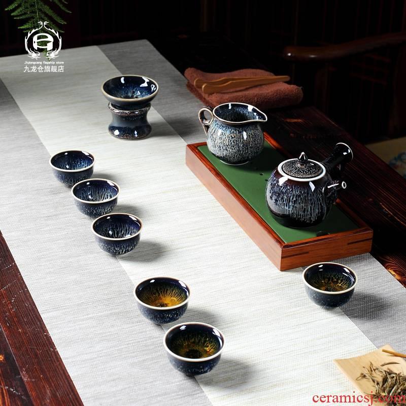 DH jingdezhen kung fu tea set home built one variable temmoku glaze ceramic tea cup pot of masterpieces