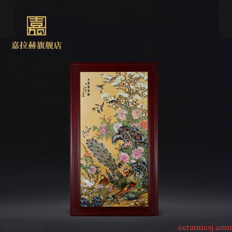 Jia lage jingdezhen ceramic hand - made famille rose porcelain plate painting CV and riches and honour, the sitting room porch decoration paintings hang a picture