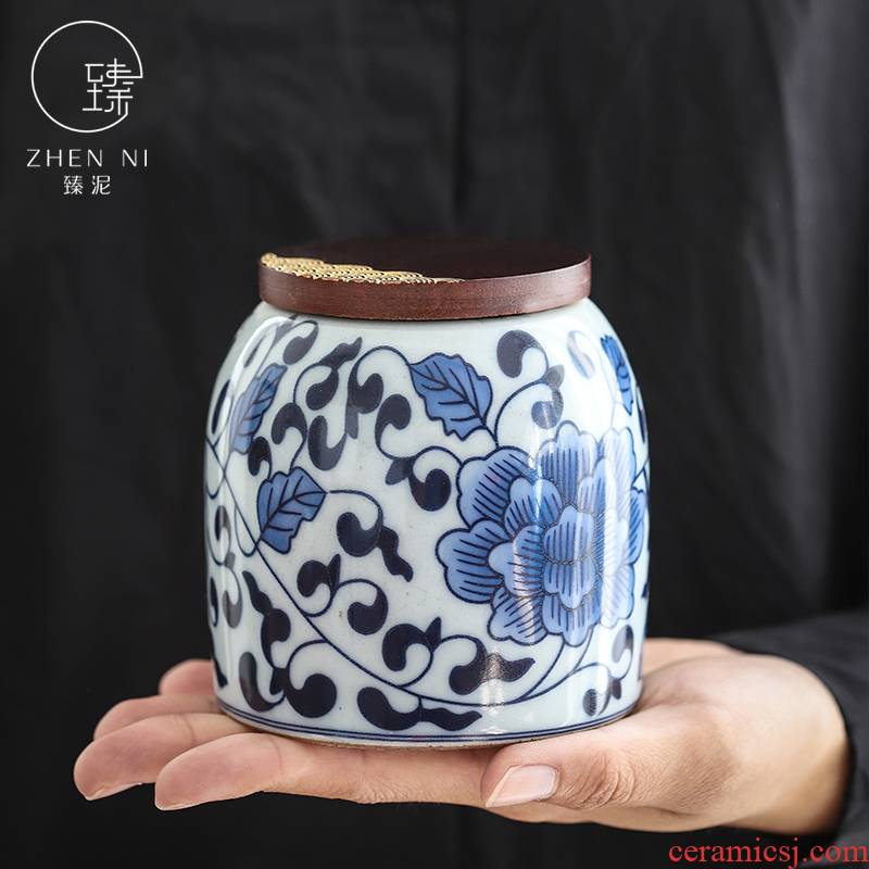 By manual creative caddy fixings Japanese wooden cover mud wake tea ware ceramic seal pot small puer tea storage tank