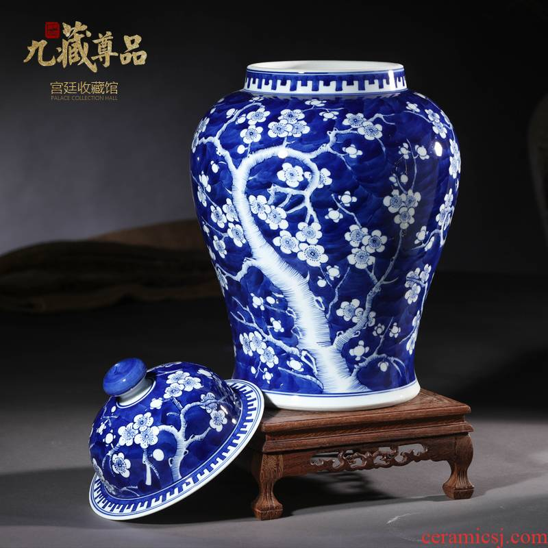 Jingdezhen ceramics imitation qianlong hand - made ice name plum general canister to sitting room study home furnishing articles