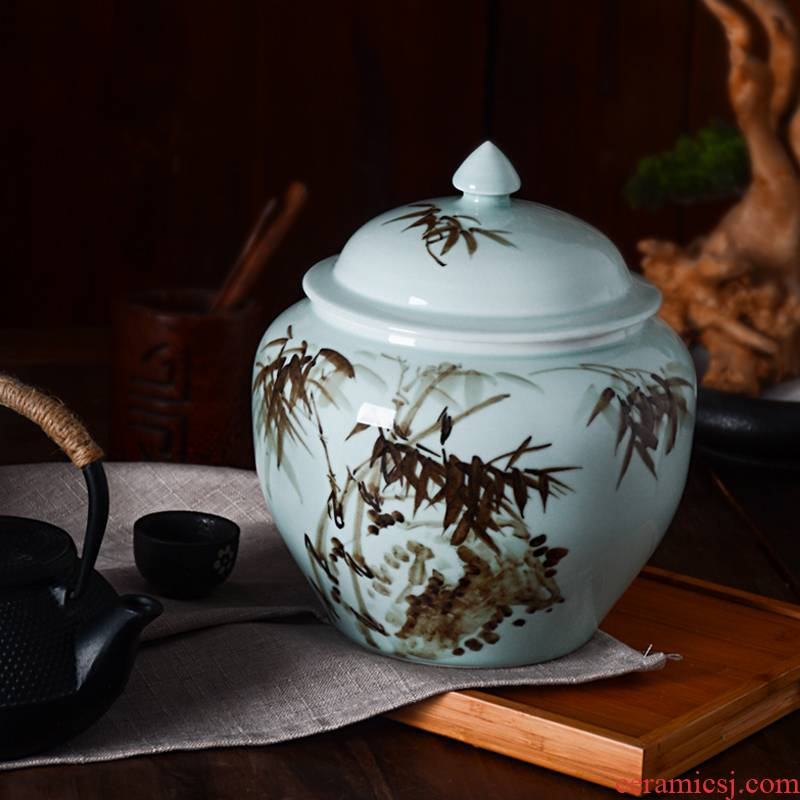 Jingdezhen hand - made ceramic tea pot home with cover seal POTS puer tea and tea furnishing articles warehouse storage tanks