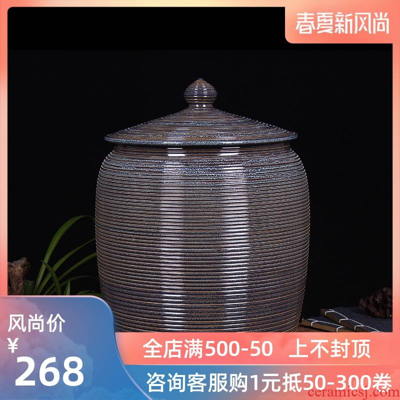 Jingdezhen household moistureproof ceramic cylinder barrel ricer box 20 jins 30 jins of 50 kg 100 jins with cover