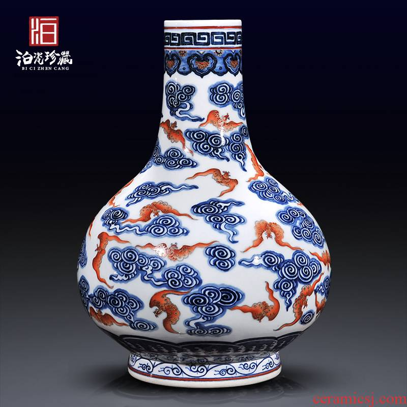 Jingdezhen ceramics antique flower vase of new Chinese style sofa background of modern living room TV ark, home decoration
