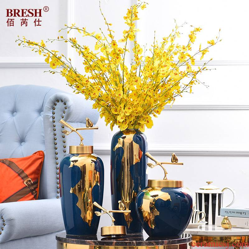 Light the key-2 luxury of modern ceramic vases, pure copper cover furnishing articles of new Chinese style living room flower arrangement of jingdezhen ceramic vase household