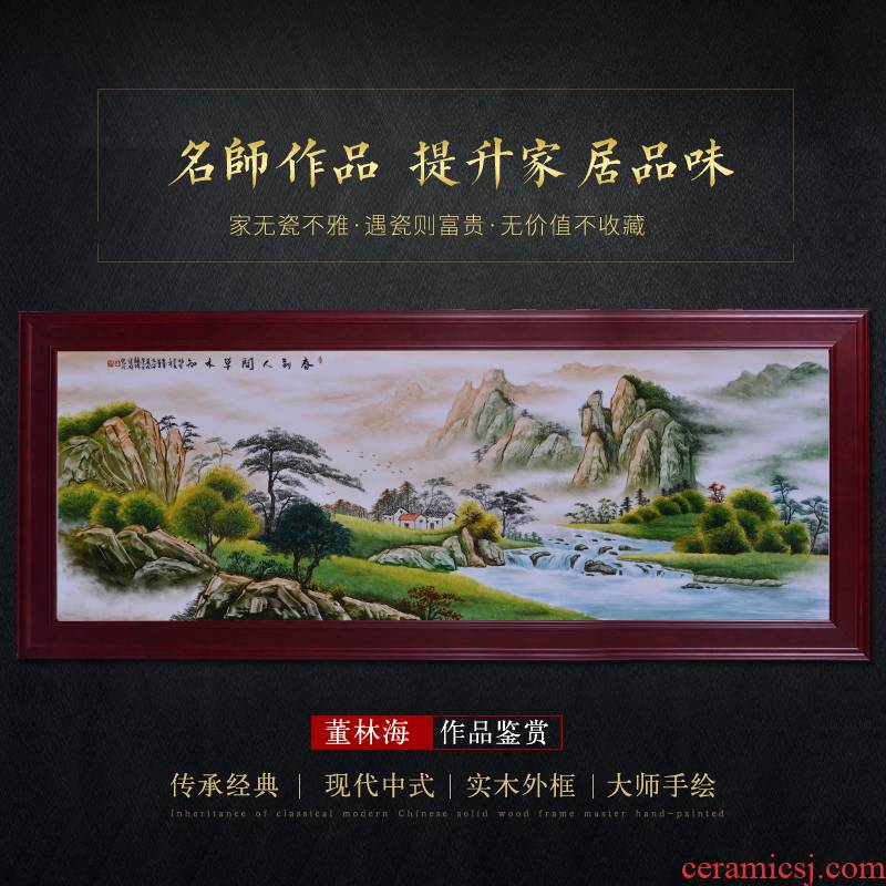 Jingdezhen ceramic masters hand draw landscape painting Chinese sitting room adornment mural painting porch hotel furnishing articles