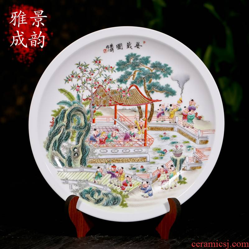 Jingdezhen ceramics hand - made porcelain decorations hanging dish furnishing articles household act the role ofing is tasted, the sitting room decorate plate restoring ancient ways