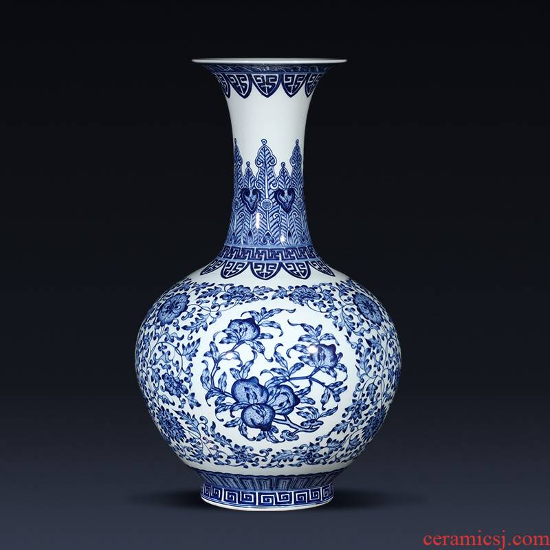 Jingdezhen ceramics imitation qianlong hand - made of blue and white porcelain vases, flower arranging place of the sitting room porch decoration of the new Chinese style