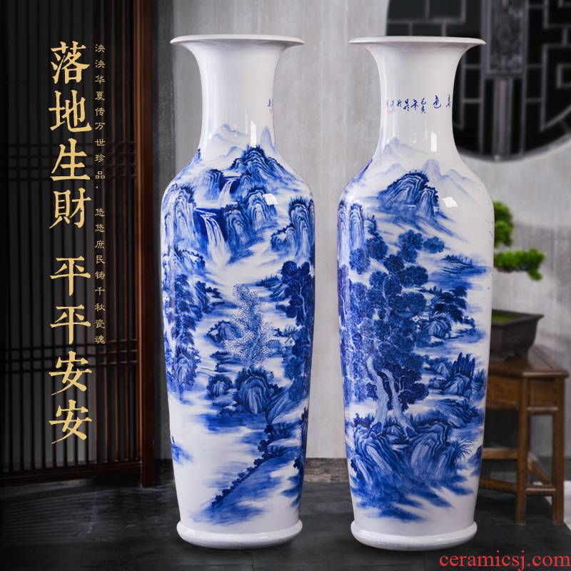 Jingdezhen blue and white landscape of large ceramic hand - made vase decoration to the hotel the opened the office lobby furnishing articles