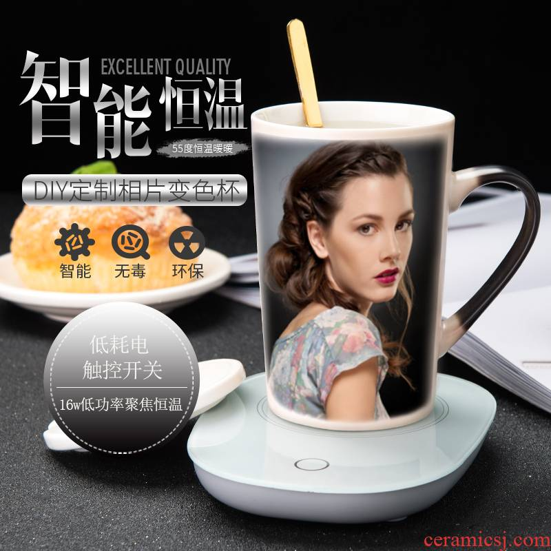 55 degrees thermostatic cup warm automatic heat insulation ceramic cup custom picture color changing mugs creative cup