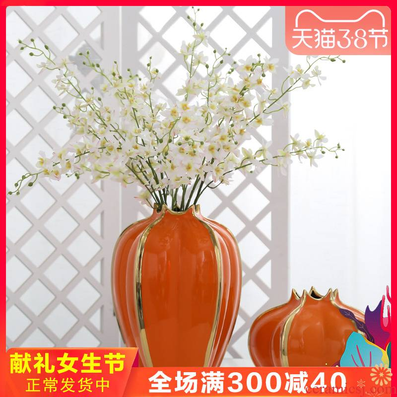 Mesa of jingdezhen light key-2 luxury furnishing articles ceramic vase hydroponic flower arranging flower implement sitting room adornment is placed simulation flower art