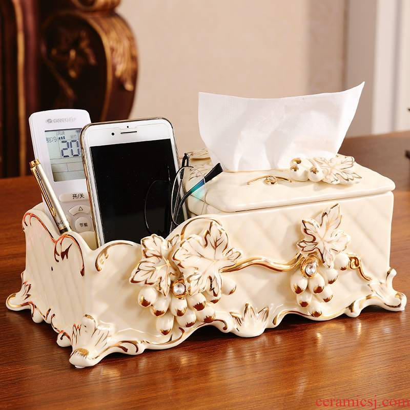 Tissue box European - style key-2 luxury furnishing articles multifunctional smoke box sitting room adornment of pottery and porcelain mobile phone remote control boxes