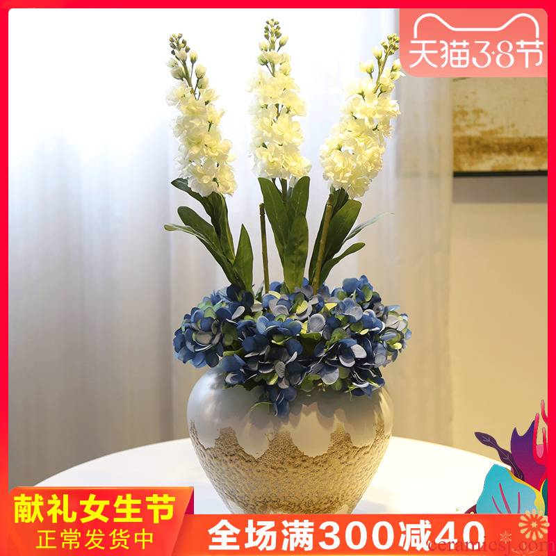 Jingdezhen ceramic creative place of the sitting room TV ark, wine field suit vase flower flower implement household decoration