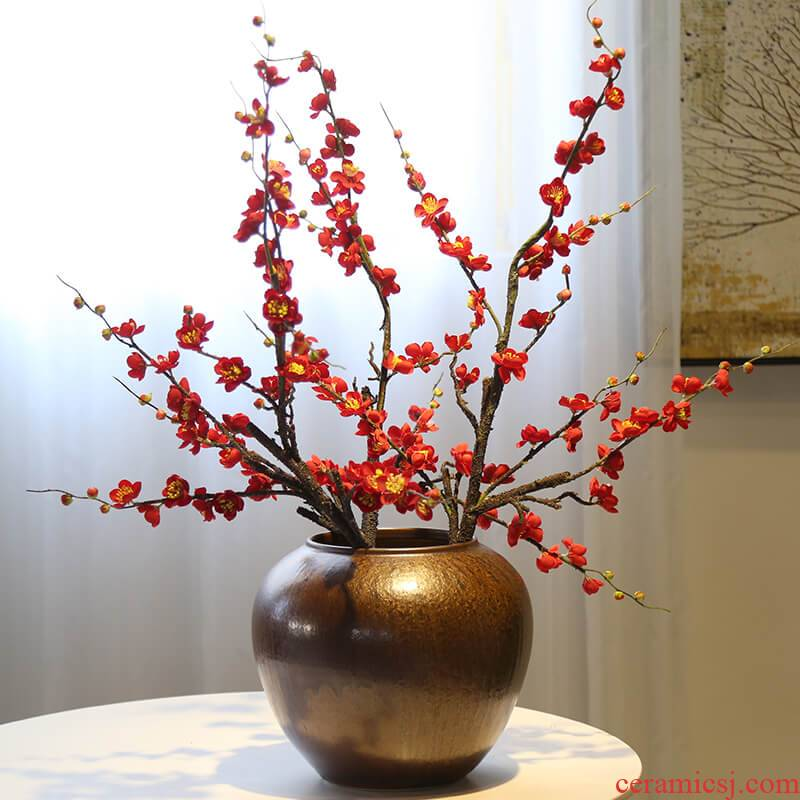 New Chinese style ceramic decorative vase restoring ancient ways is the sitting room the desktop flower implement flower decoration decorative furnishing articles tea table and what