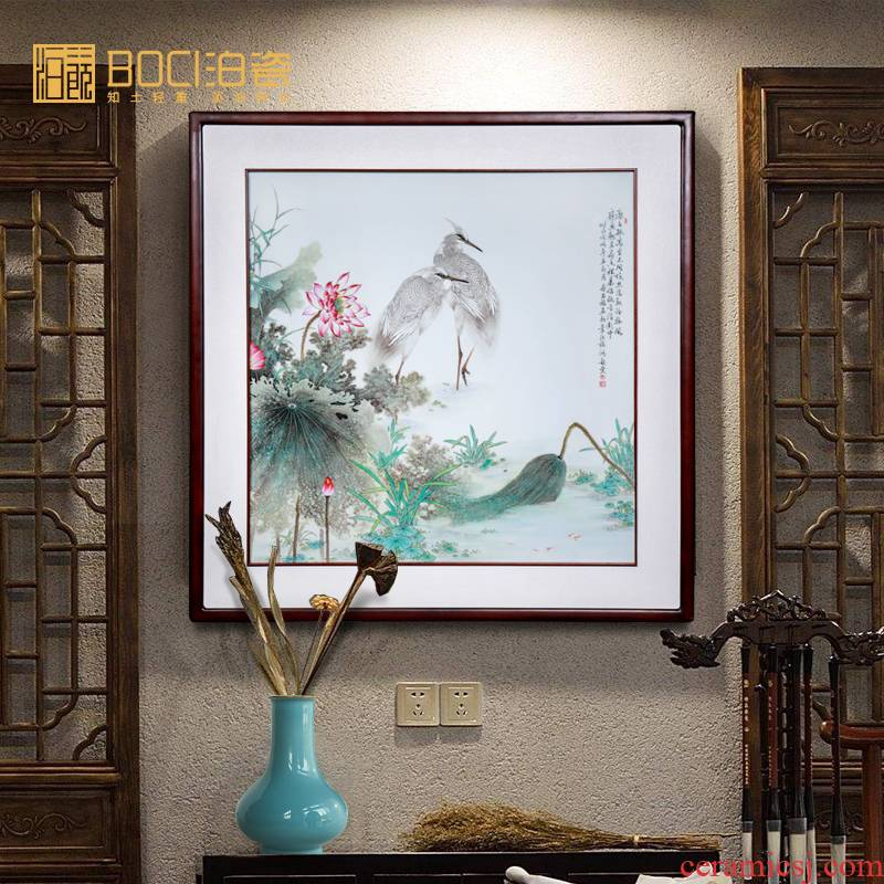 Jingdezhen ceramic all hand - made egrets study of new Chinese style household decorative porcelain partition painting hangs a picture collection furnishing articles