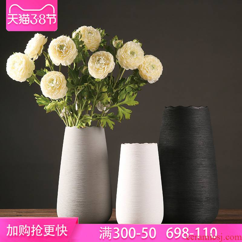 The modern flower vase furnishing articles sitting room flower arranging dried flower vase creative hydroponic ceramic European vase