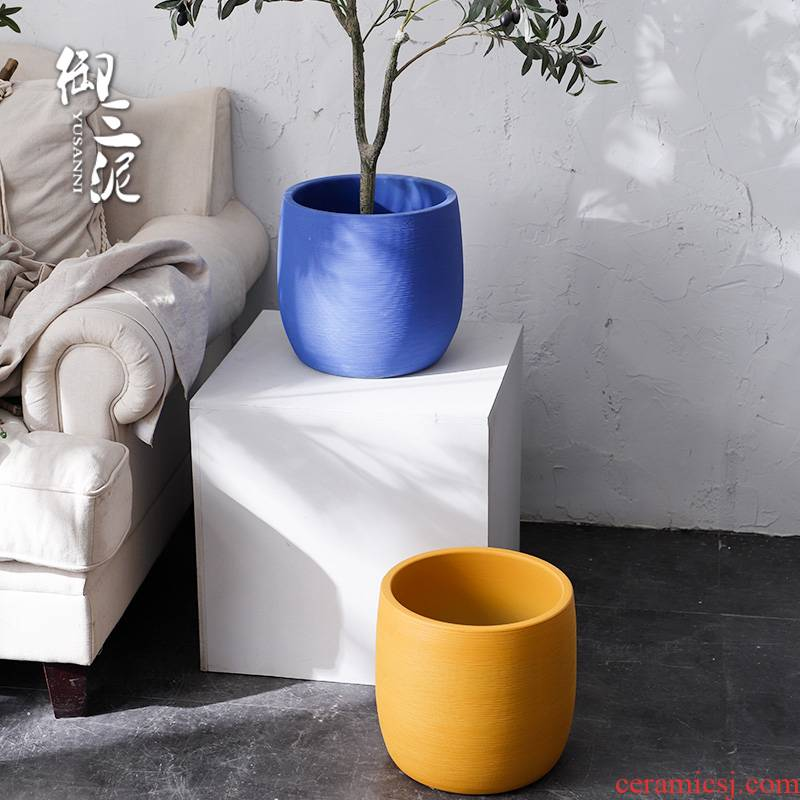 Nordic blue yellow flower pot green plant indoor plant decoration I and contracted vase of large diameter ceramic water jugs