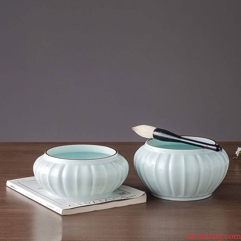 Large tea wash your writing brush washer from household glass ceramic tea set with parts washing cups in the bowl of jingdezhen ceramics, writing brush washer