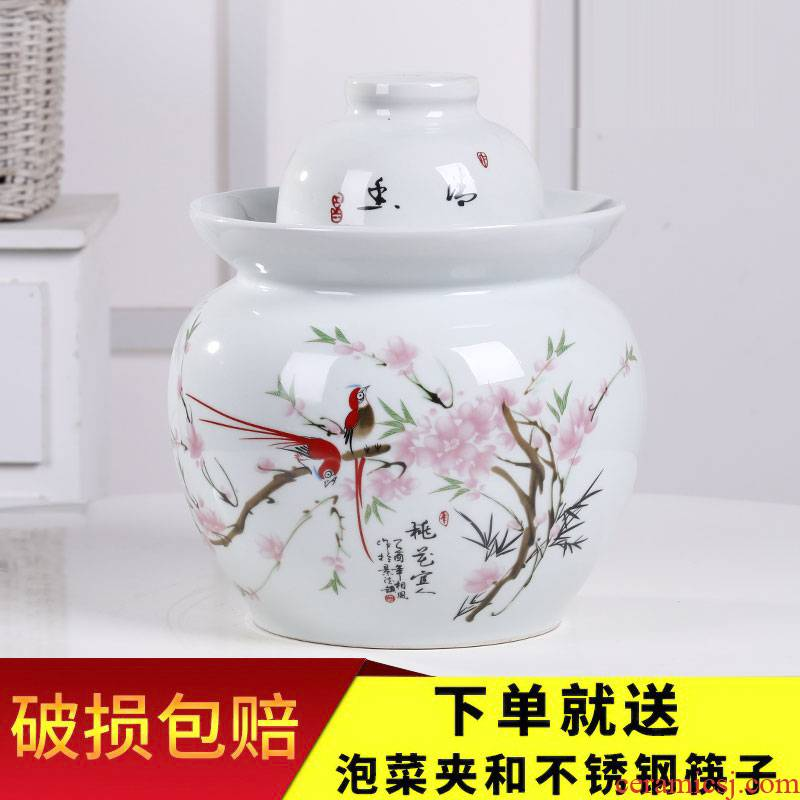 Jingdezhen ceramic pickle jar pickles cylinder seal storage jar sichuan pickled kimchi altar lead - free double cover