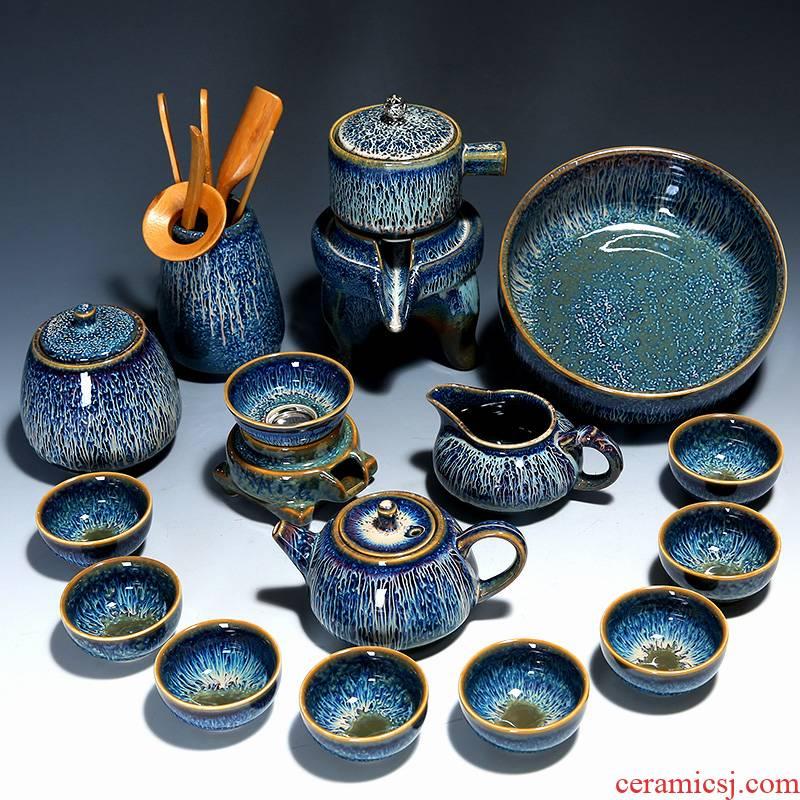 Build light tea set household semi - automatic lazy people against hot stone mill kung fu tea tea cup tea tray