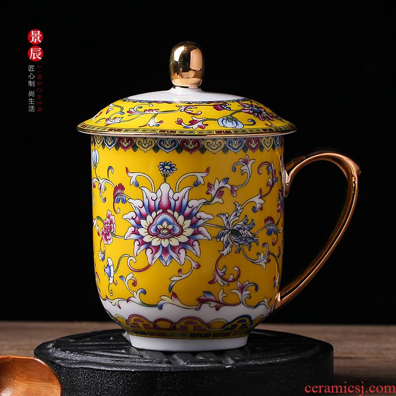 Rich colored enamel cup with cover large capacity cup paint glass ceramic glass office ultimately responds cup