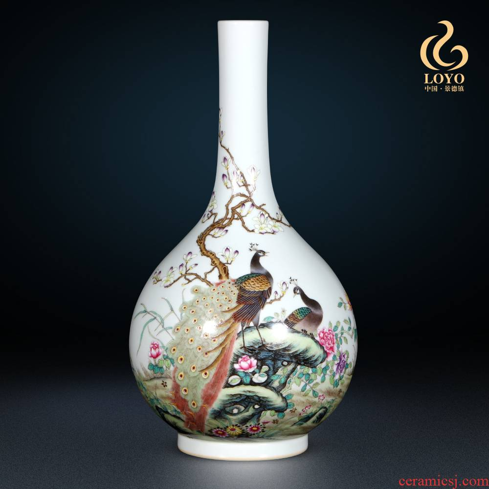Jingdezhen ceramics imitation the qing qianlong enamel color peacock vase in antique Chinese style household decorations furnishing articles