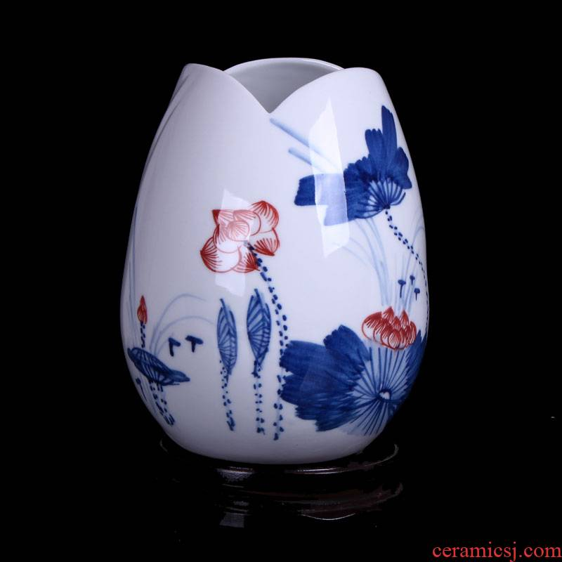 Hydroponic floret bottle of jingdezhen ceramic vase hand - made of new wine small retro flower arranging the sitting room is contracted furnishing articles