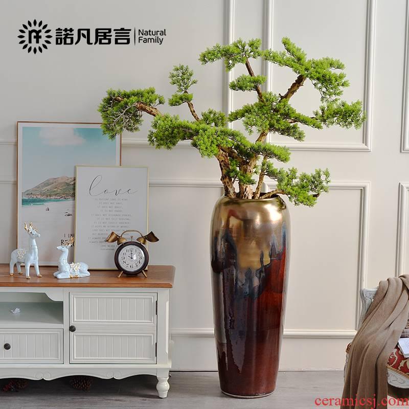Jingdezhen ceramic vase landing large northern dry flower arranging furnishing articles retro flower pot sitting room decoration time of your life