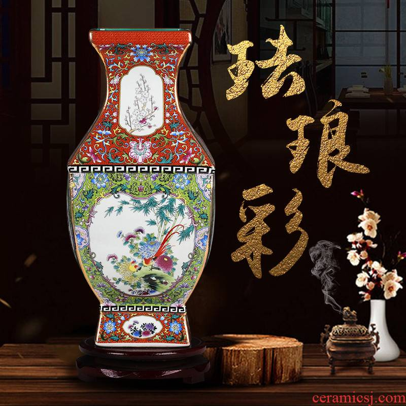 Jingdezhen ceramics archaize the qing qianlong sifang flower arranging dry enamel vase Chinese handicraft furnishing articles in the living room