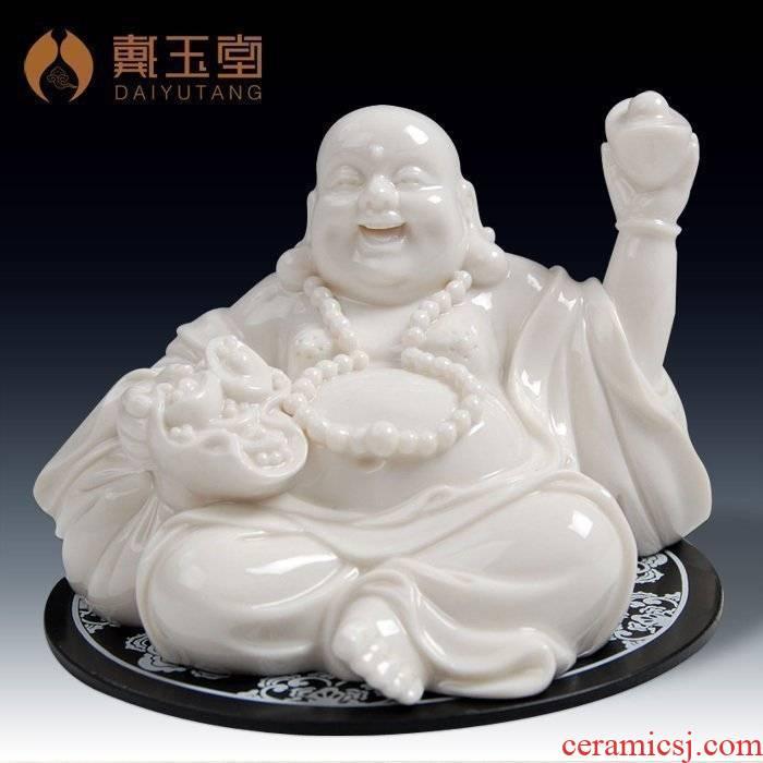 Yutang dai ceramic office desktop furnishing articles home sitting room adornment/silver piece smiling Buddha maitreya D21-01