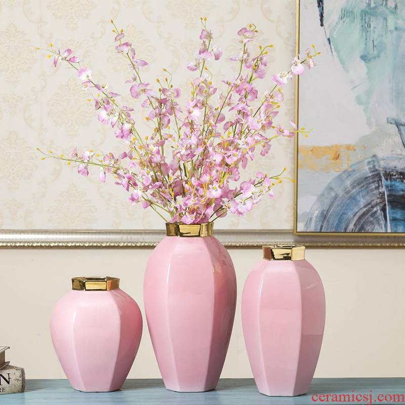 Jingdezhen ceramic vases, the sitting room porch TV ark edge ark of what adornment flower implement gold - plated furnishing articles simulation flower arranging flowers