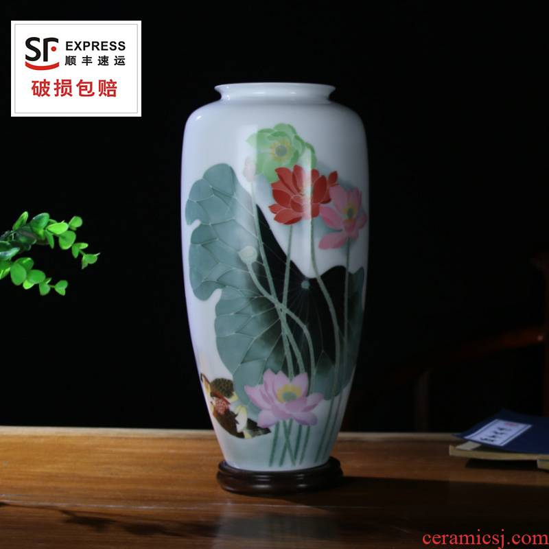 Under the liling porcelain glaze porcelain good remit multicolored sitting room place hand - made ceramic vase four flower yuanyang gifts can be customized