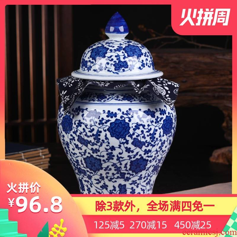 Blue and white porcelain of jingdezhen ceramics pu 'er tea pot retro general household large seal the packed tea POTS