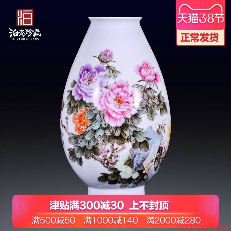 Jingdezhen ceramics hand - made pastel flowers decorative vase rich ancient frame of new Chinese style household furnishing articles sitting room collection