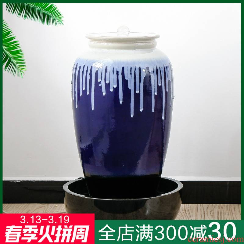 Water machine ceramic humidifier big furnishing articles sitting room waterscape fountain feng shui wheel tank floor hotel decoration