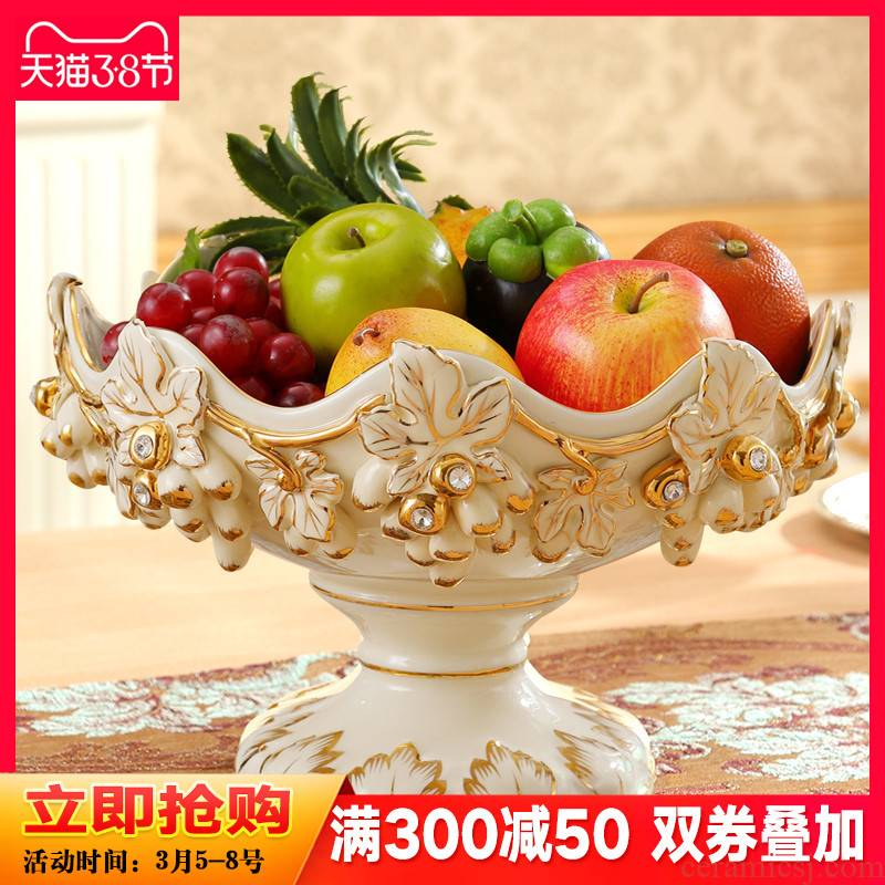 Gold key-2 luxury European - style compote creative modern ceramic fruit bowl sitting room home furnishing articles home decoration tea table