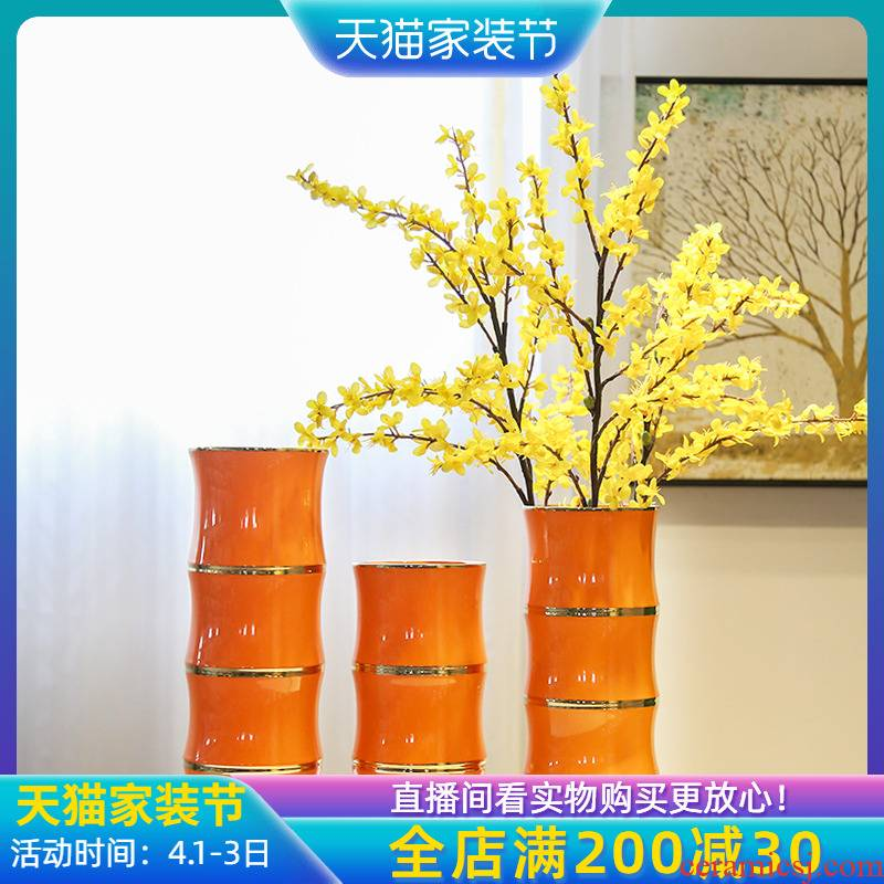 Jingdezhen new Chinese style between light and decoration vase continental example flower implement TV ark, household soft outfit furnishing articles flowers sitting room