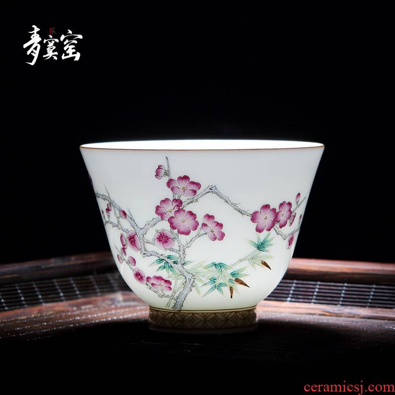 Up with green was single CPU getting jingdezhen ceramic tea set built one master cup pure manual sample tea cup cup home