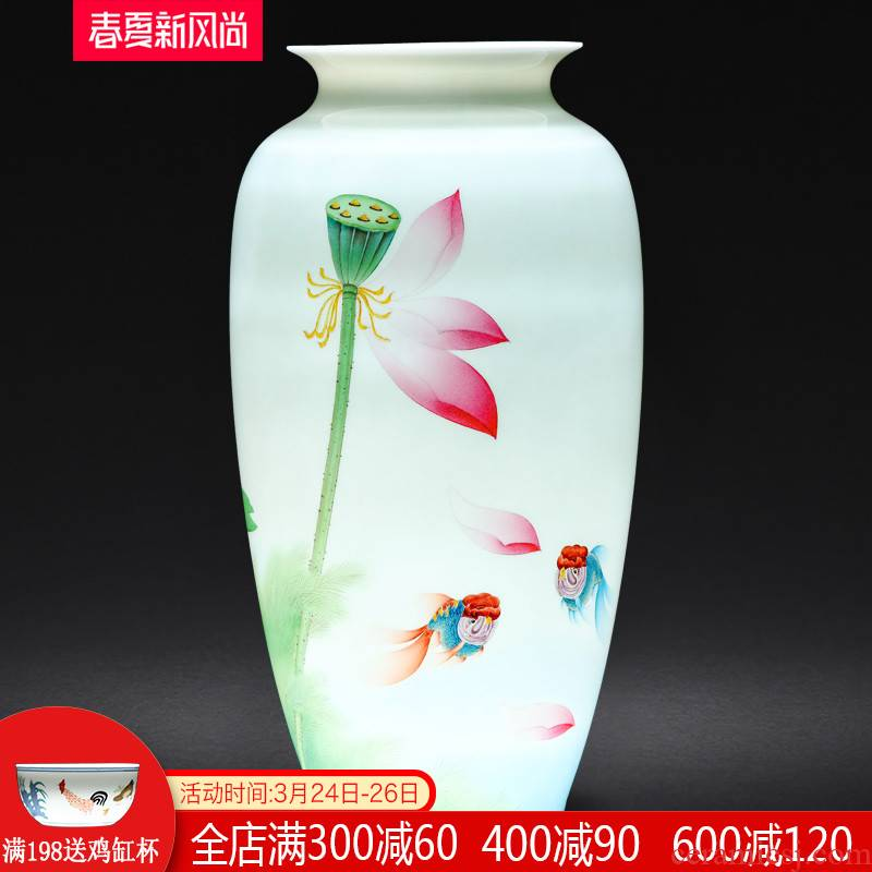 Jingdezhen ceramics famous hand - made vases furnishing articles sitting room TV ark, decoration of Chinese style household arranging flowers