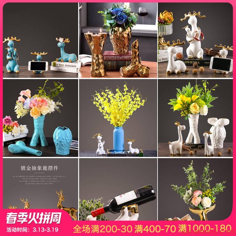 The Originality of deer furnishing articles European sitting room of TV ark, wine porch ceramic decoration wedding wedding housewarming gift