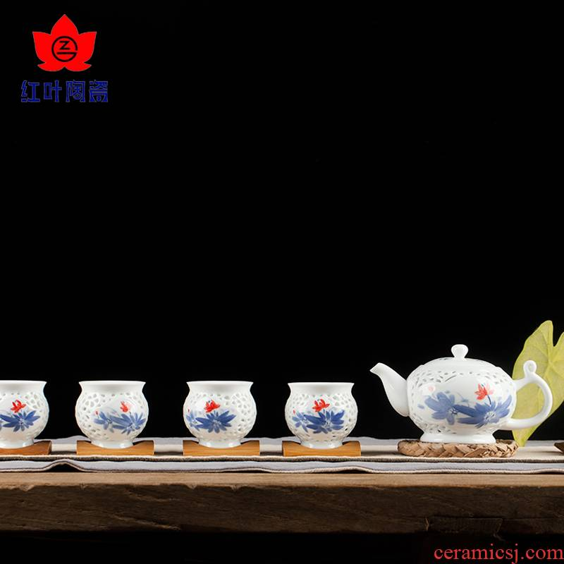 Red leaves home kung fu tea sets the whole porcelain of jingdezhen ceramics containing 5 head lotus cup teapot