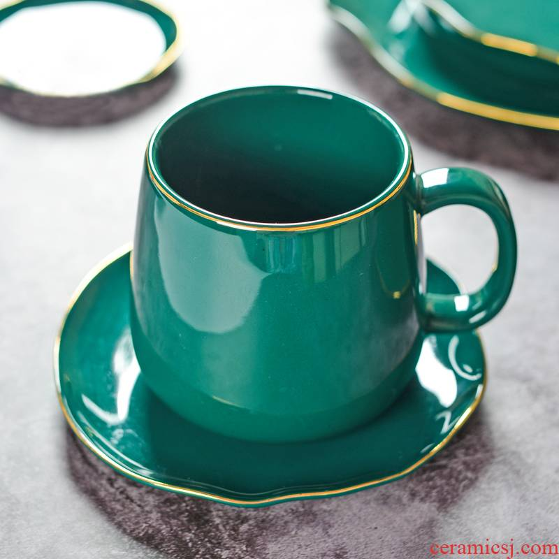 European creative blackish green up phnom penh ceramic dish suits for the steak is dessert bowl of soup bowl dish plate suit household lace