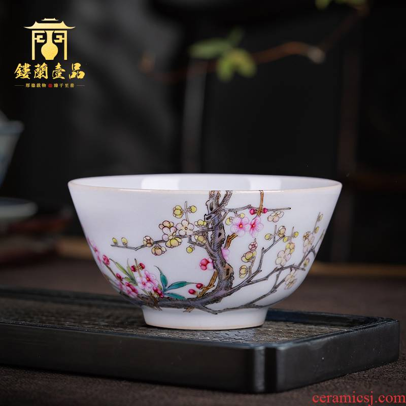 Jingdezhen ceramic pure hand draw pastel name plum large single master cup tea cup household kung fu tea set fragrance - smelling cup